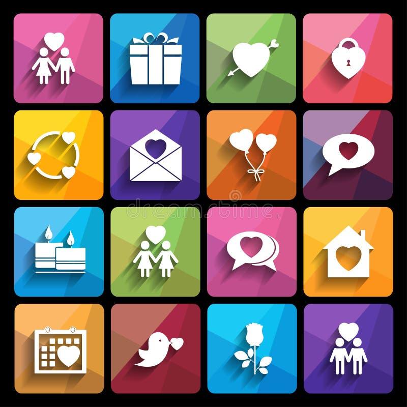 Iconos del amor fijados en estilo plano. ilustración del vector