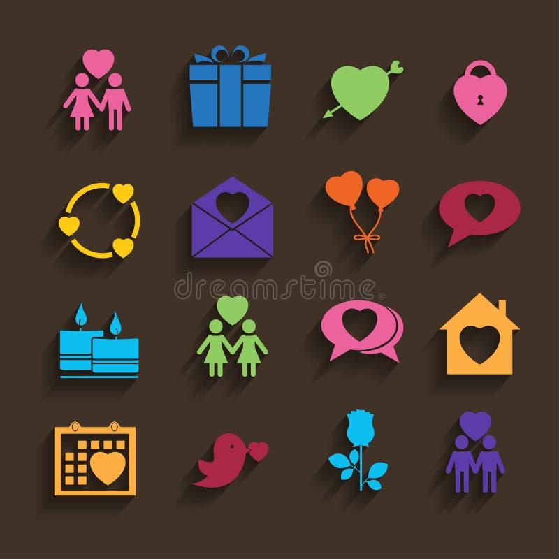 Iconos del amor fijados en estilo plano. stock de ilustración