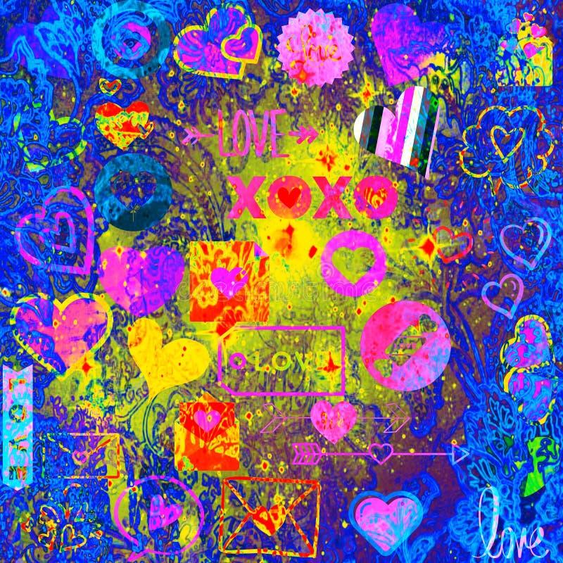 Iconos del amor fijados en multicolors brillantes stock de ilustración