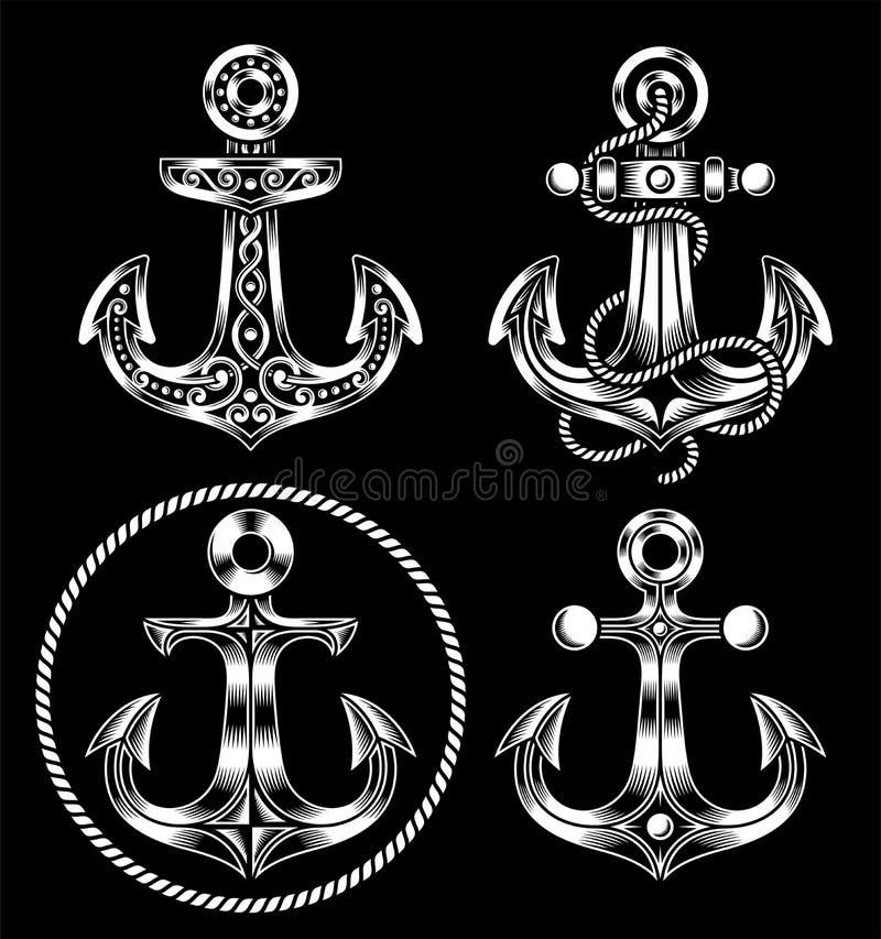 Iconos del ancla fijados ilustración del vector