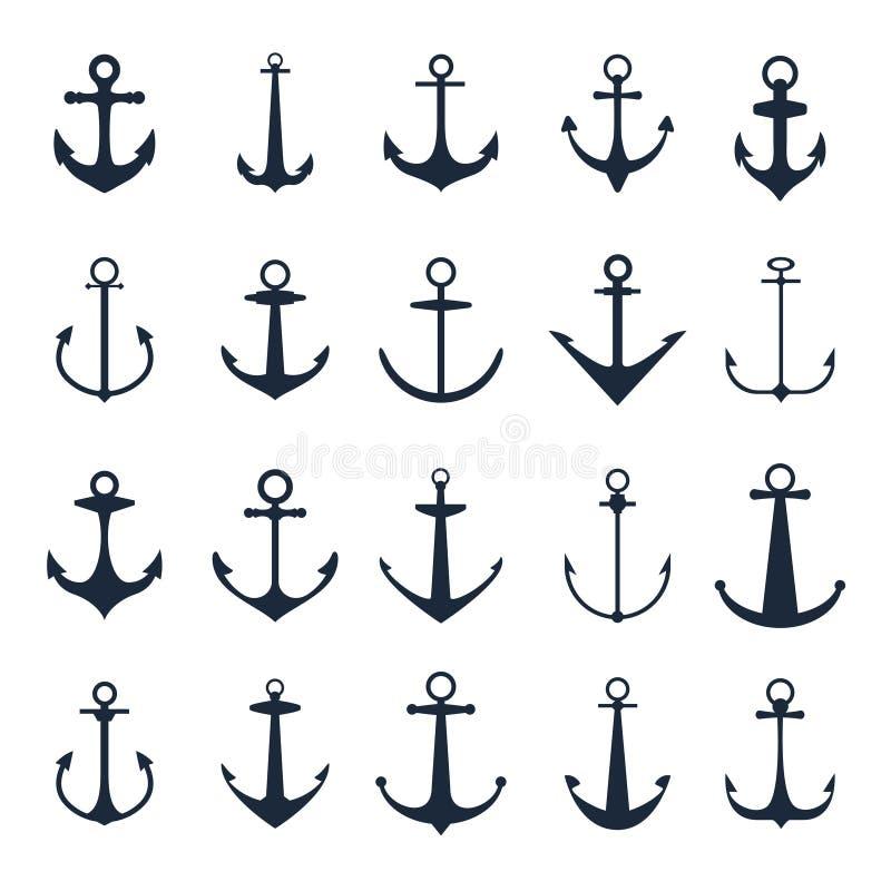 Iconos del ancla Vector las anclas del barco aisladas en el fondo blanco para el tatuaje o el logotipo marino stock de ilustración