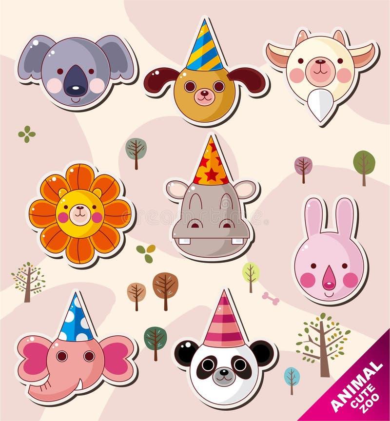 Iconos del animal de la historieta stock de ilustración