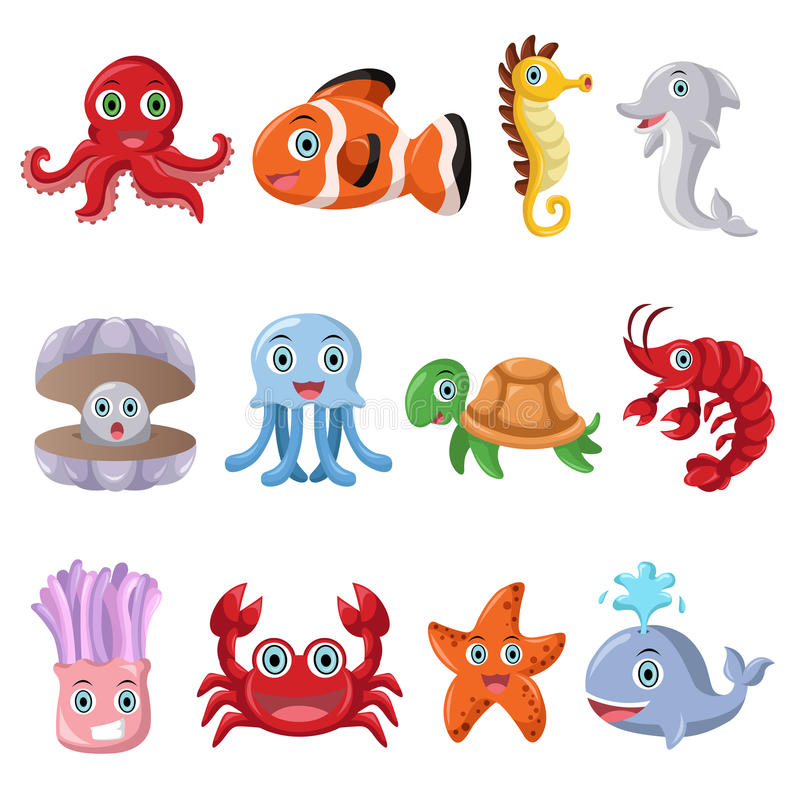 Iconos del animal marino libre illustration