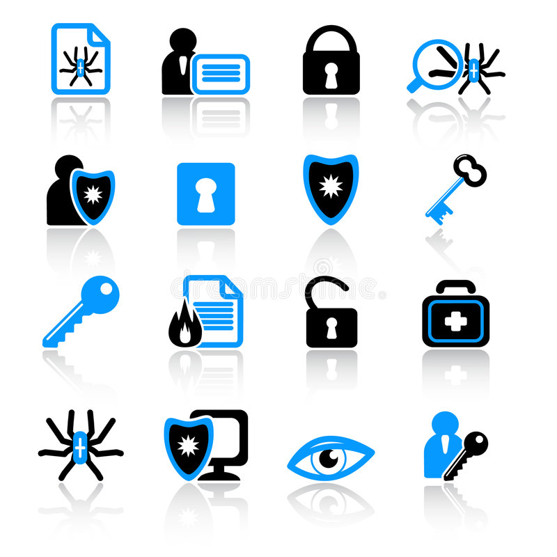 Iconos Del Antivirus Fotos de archivo