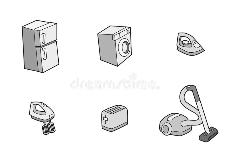 Iconos del aparato electrodoméstico del refrigerador, tostadora, lavadora, vacío, mezclador, hierro libre illustration