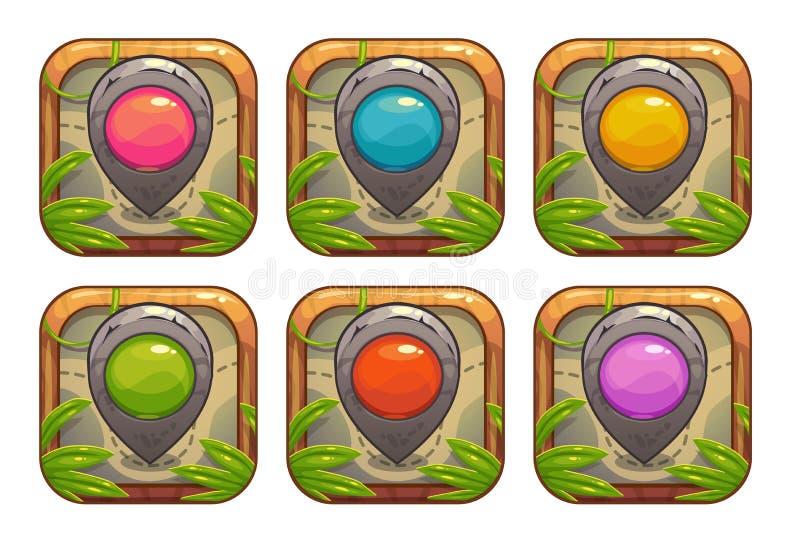 Iconos del app de la historieta con los indicadores de piedra del mapa libre illustration