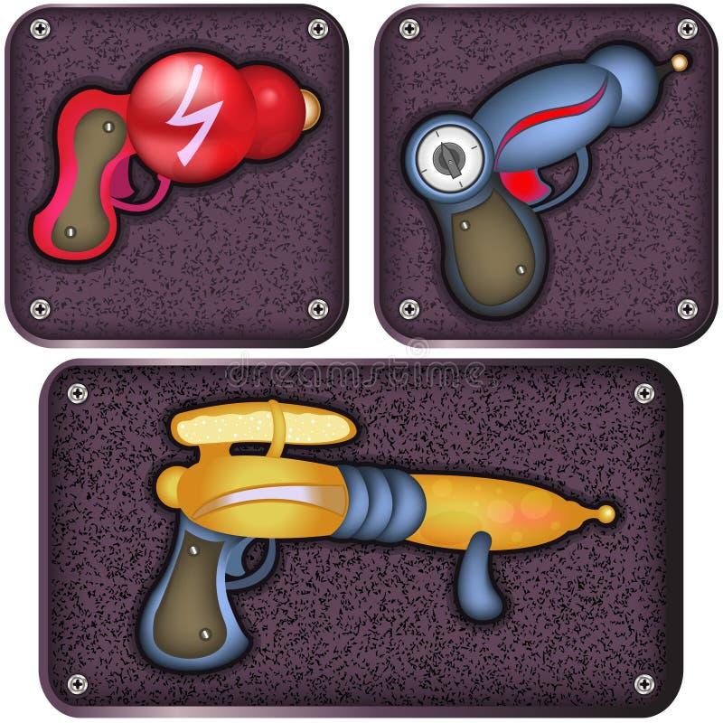 Iconos del arma de Ray ilustración del vector