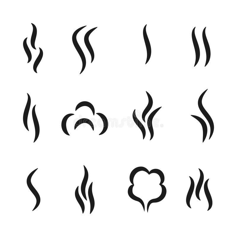 Iconos del aroma del vapor Símbolos del negro del olor del café y del té, sistema del vapor del gas del olor del aroma y vapor de ilustración del vector