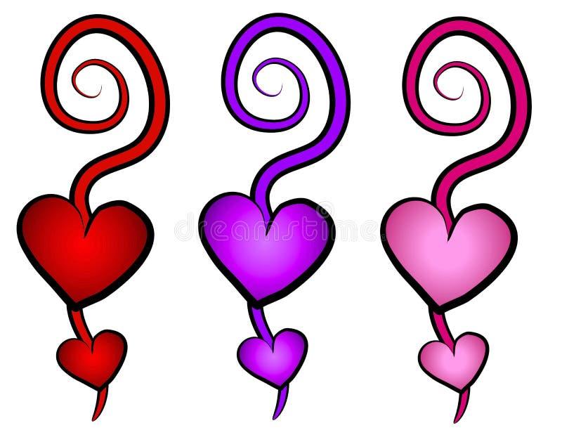 Iconos del arte de clip de los remolinos de los corazones ilustración del vector