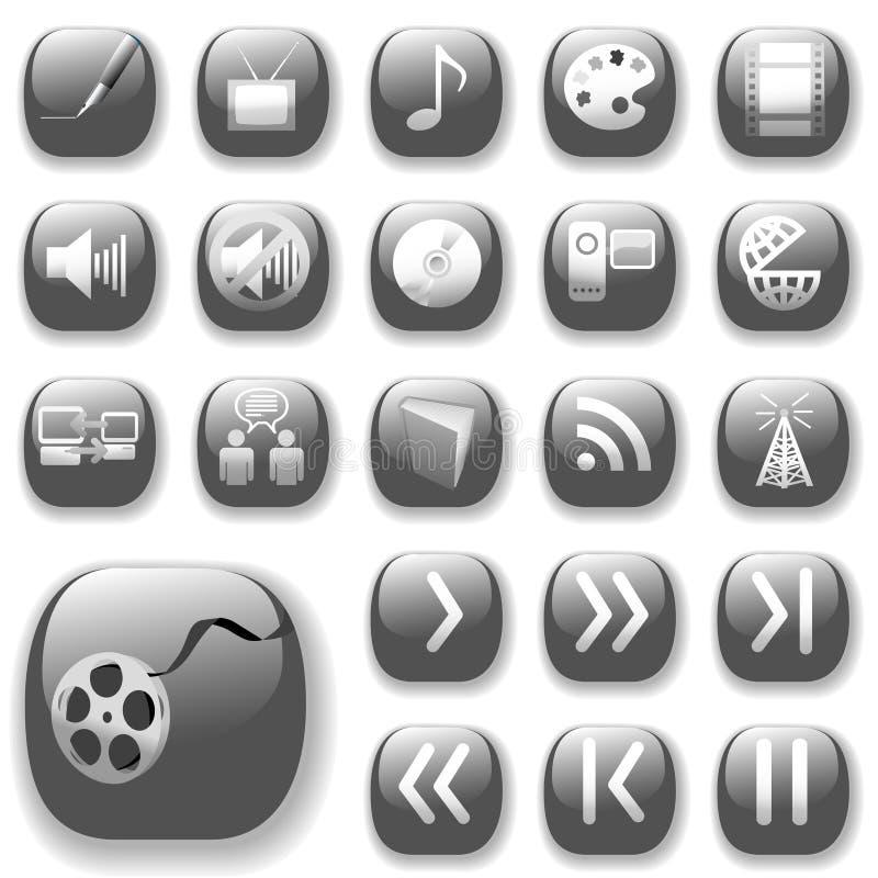 Iconos del arte de los media de Digitaces fijados stock de ilustración