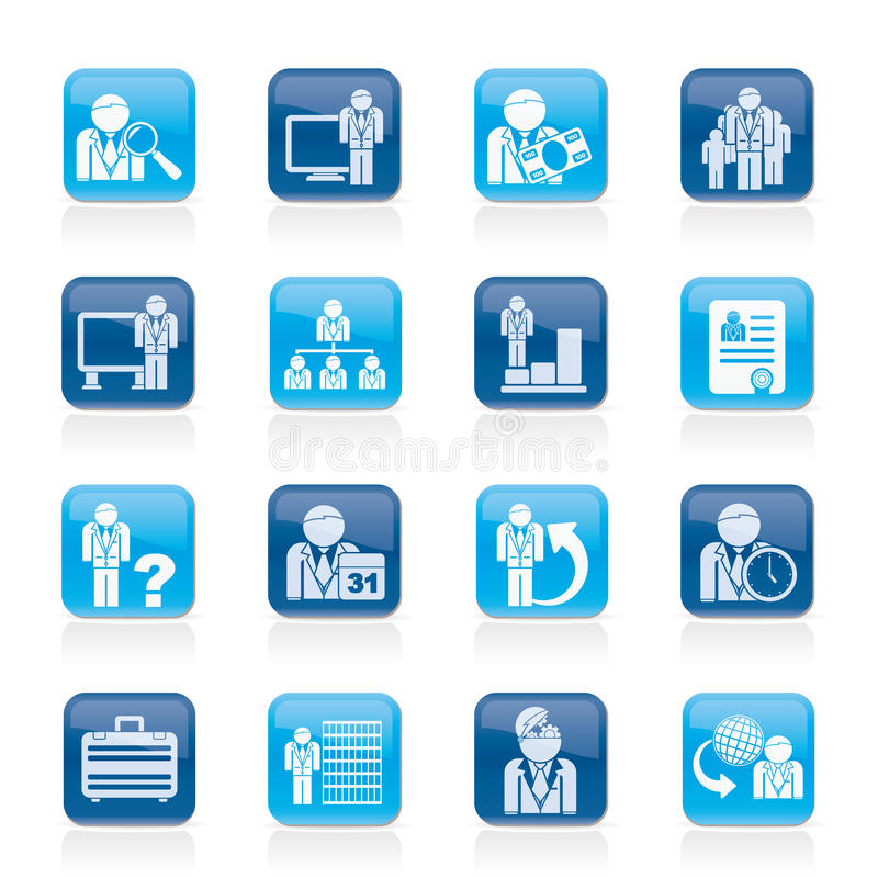 Iconos del asunto, de la gestión y de la jerarquía stock de ilustración