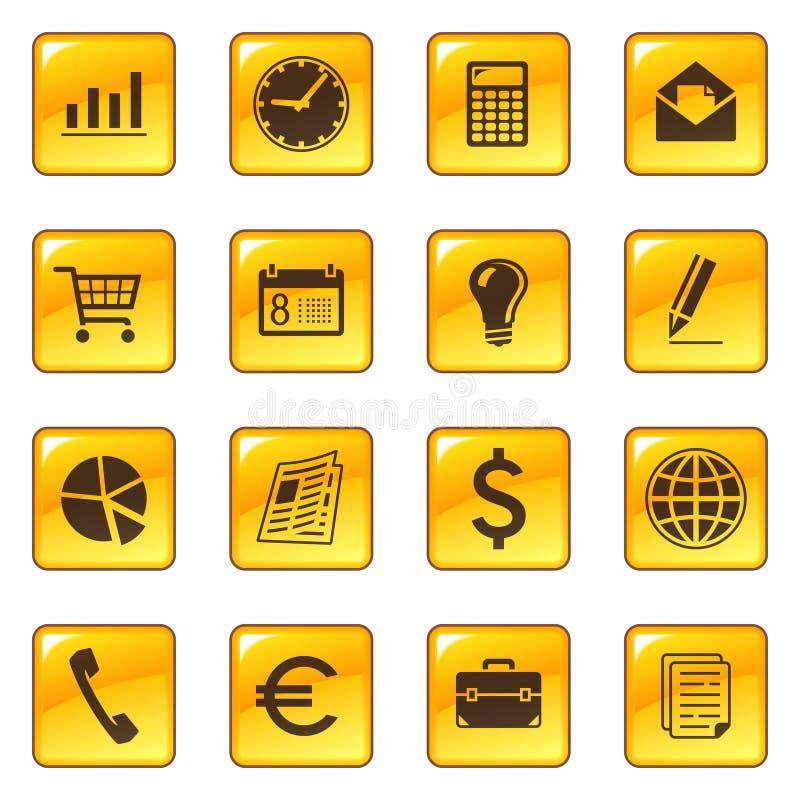 Iconos del asunto en los botones del Web ilustración del vector
