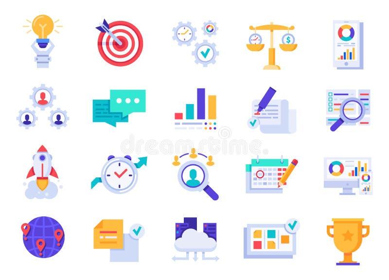Iconos del asunto Inicio de la compañía, metas corporativas e iconos planos del vector de la visión de la marca libre illustration