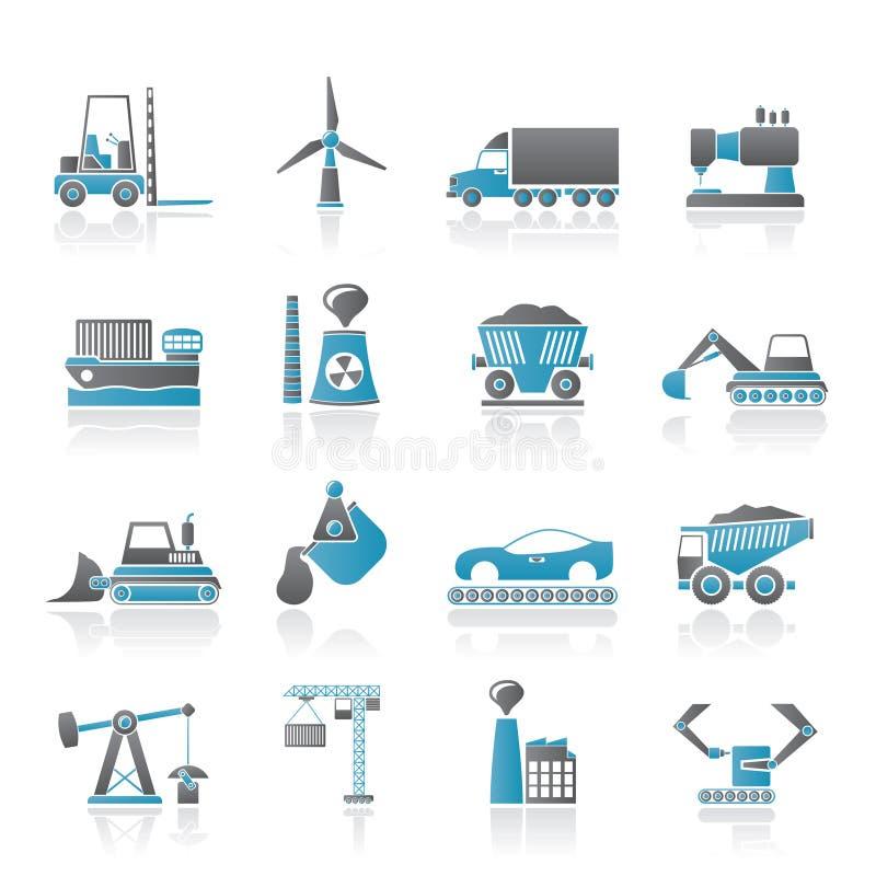 Iconos del asunto y de la industria stock de ilustración