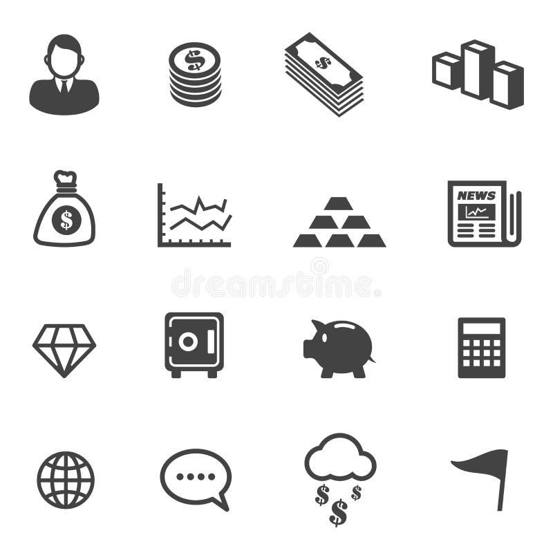 Iconos del asunto y de las finanzas stock de ilustración