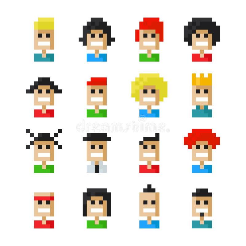 Iconos del avatar del pixel ilustración del vector