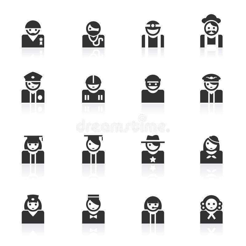 Iconos del avatar (ocupación) - serie del minimo ilustración del vector