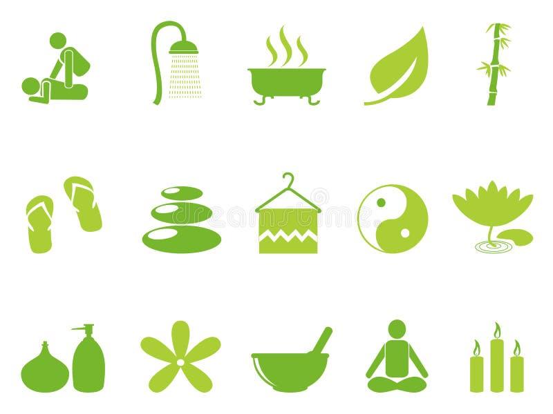 Iconos del balneario del color verde fijados ilustración del vector