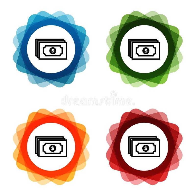 Iconos del banco del dinero de la nota del dólar Vector Eps10 stock de ilustración
