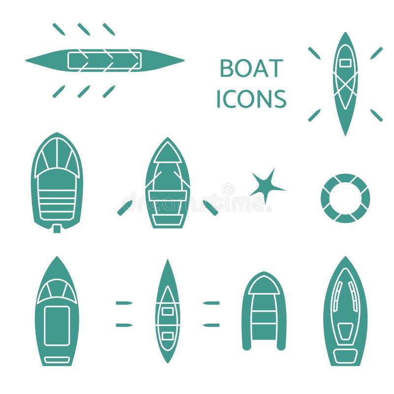 Iconos del barco fijados stock de ilustración