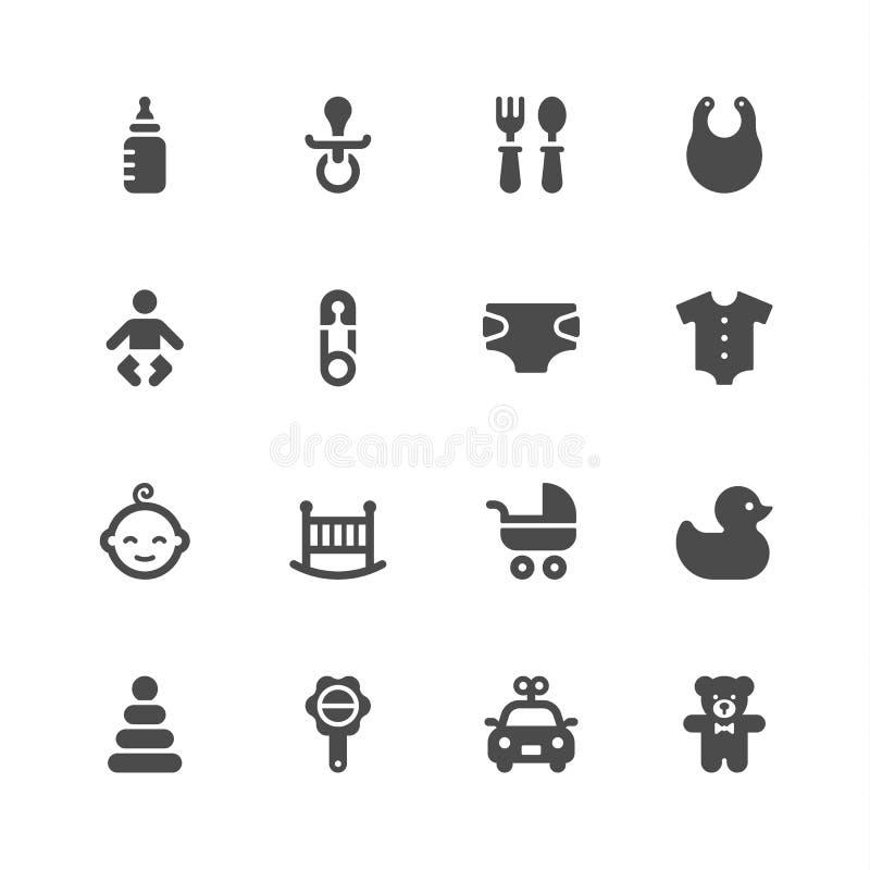 Iconos del bebé stock de ilustración