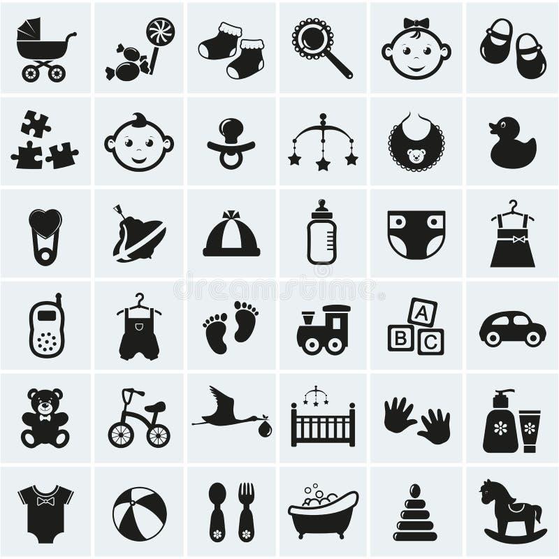 Iconos del bebé fijados. Ejemplo del vector. ilustración del vector