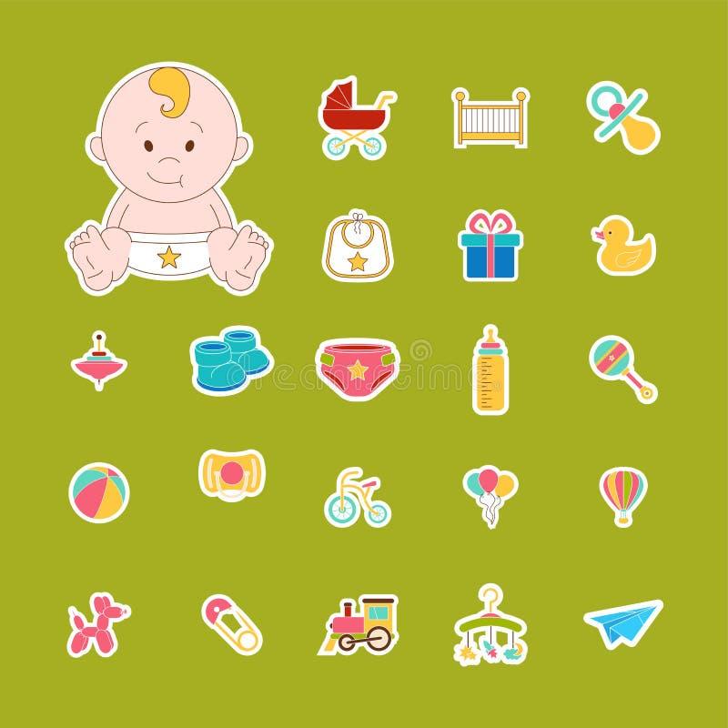 Iconos del bebé fijados Etiquetas aisladas del bebé del garabato Ilustración del vector ilustración del vector