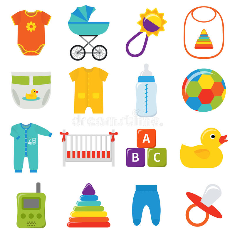 Iconos del bebé fijados Ilustración del vector stock de ilustración