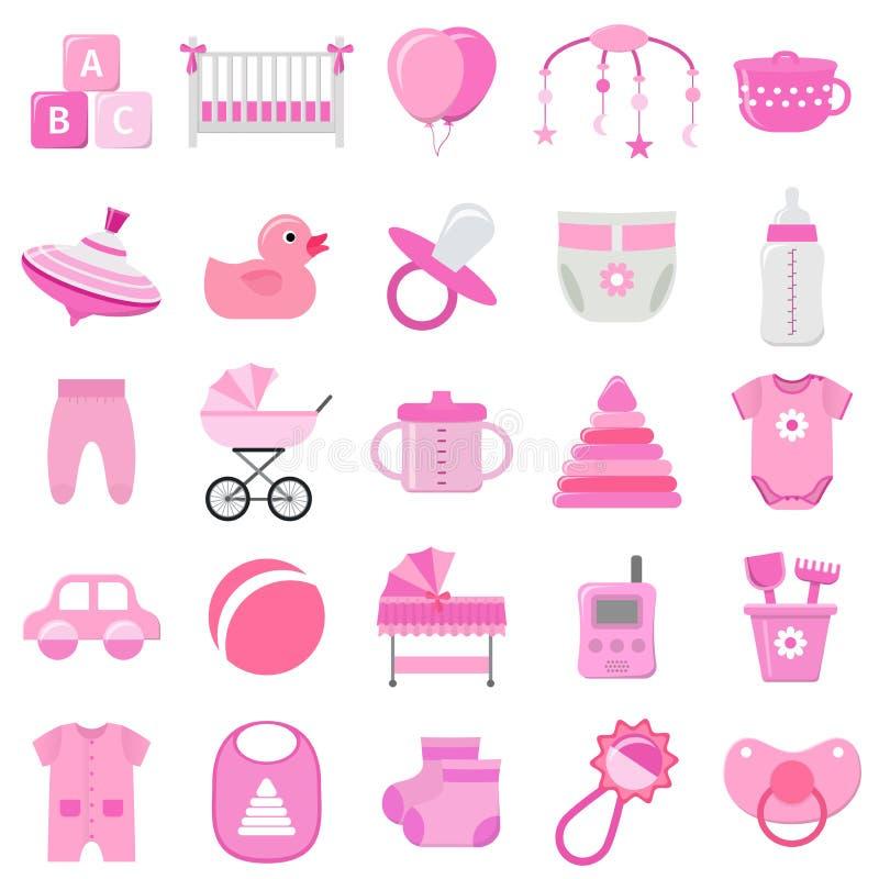 Iconos del bebé fijados Ilustración del vector ilustración del vector