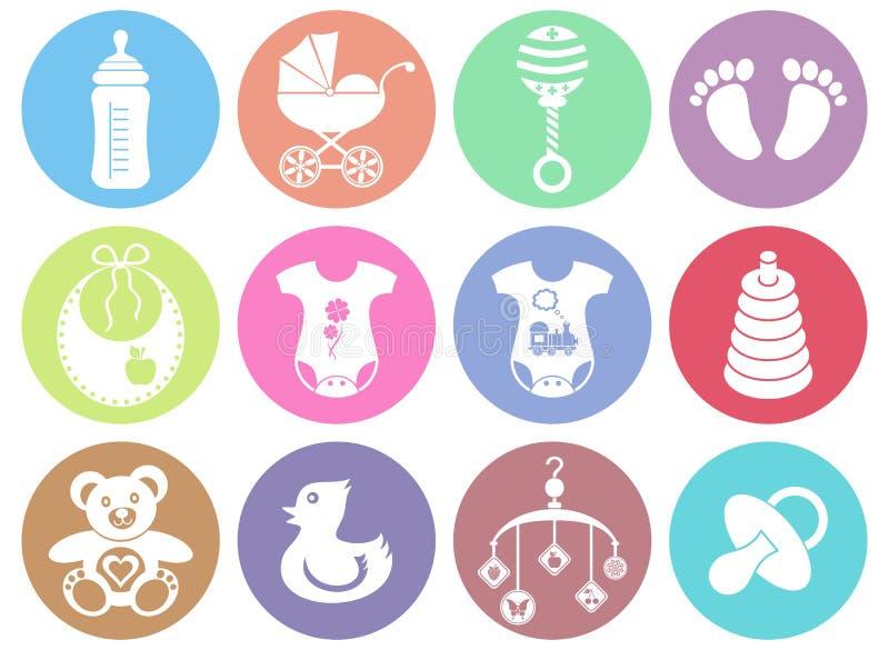 Iconos del bebé y de la muchacha stock de ilustración
