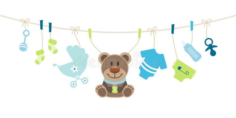 Iconos del bebé y verde de Teddy Boy Bow Blue And libre illustration