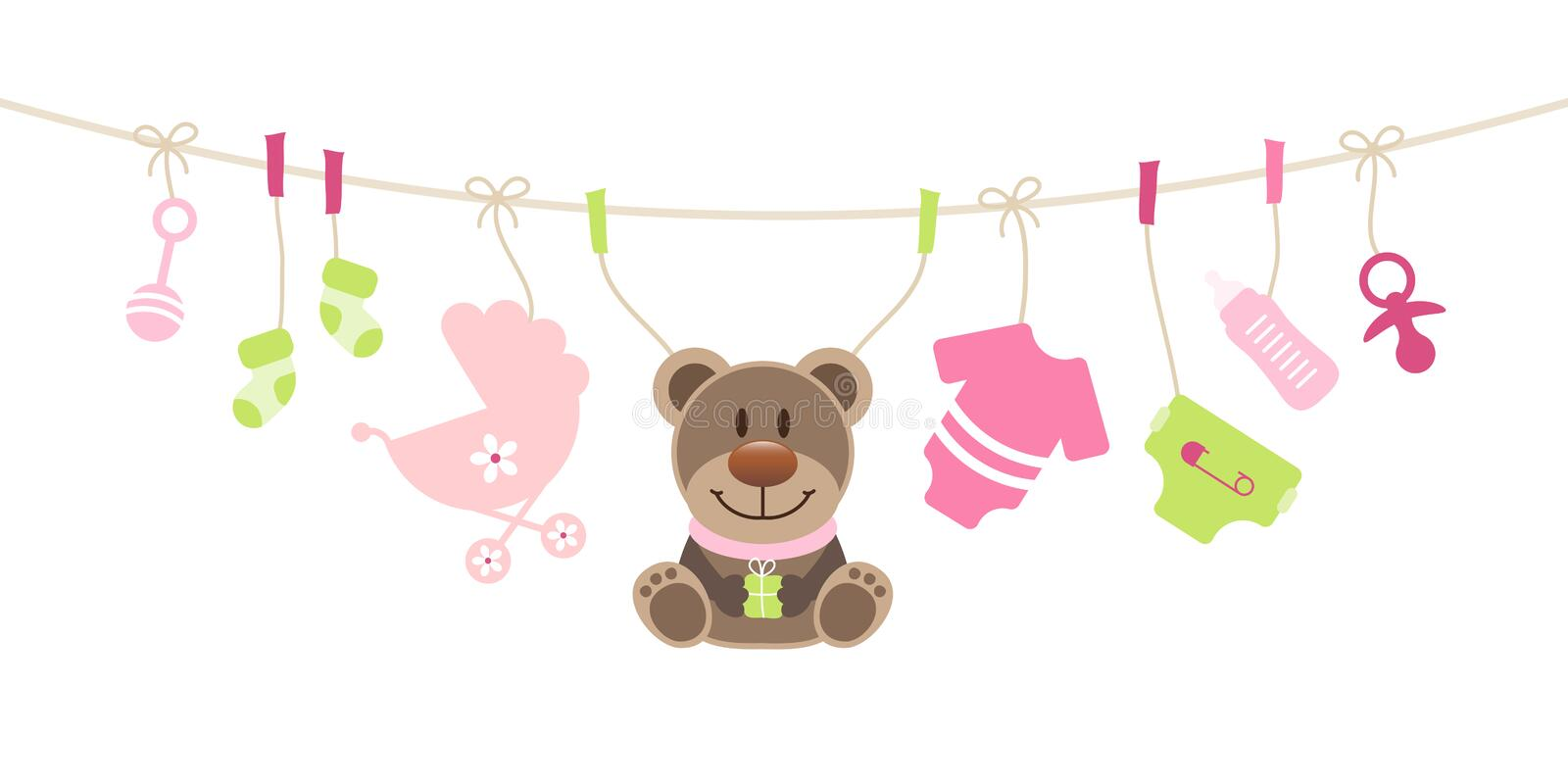 Iconos del bebé y verde de Teddy Girl Bow Pink And ilustración del vector