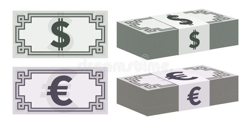 Iconos del billete de banco del dólar y del euro ilustración del vector