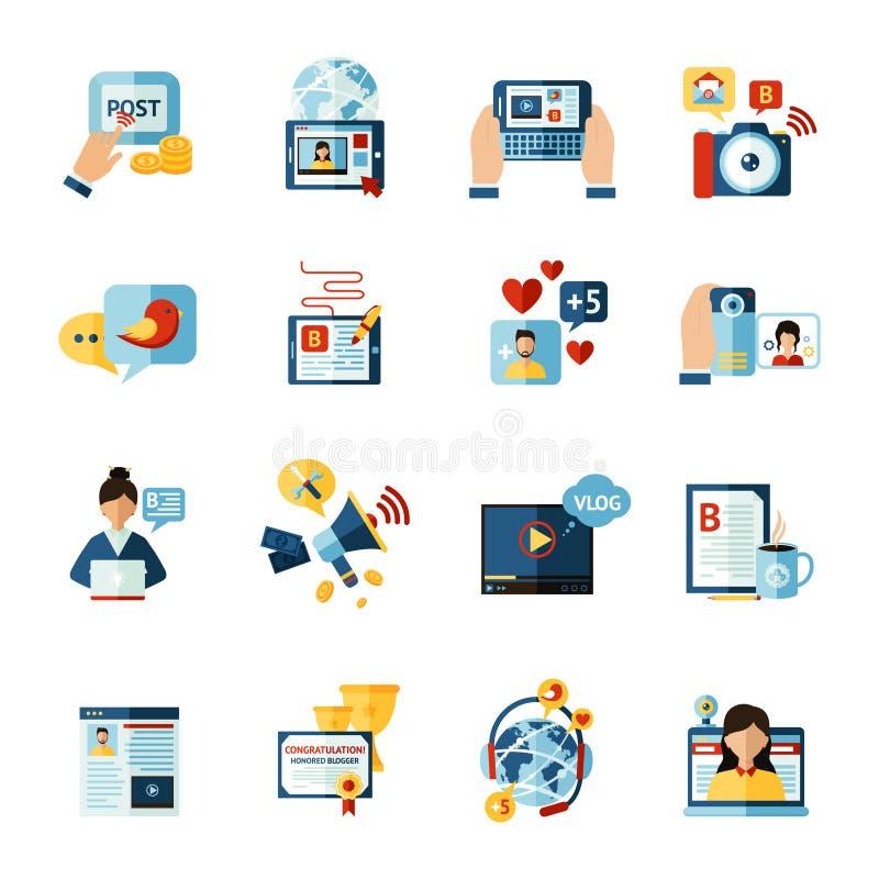 Iconos del Blogger fijados ilustración del vector