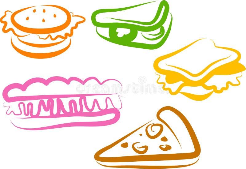 Iconos del bocado stock de ilustración