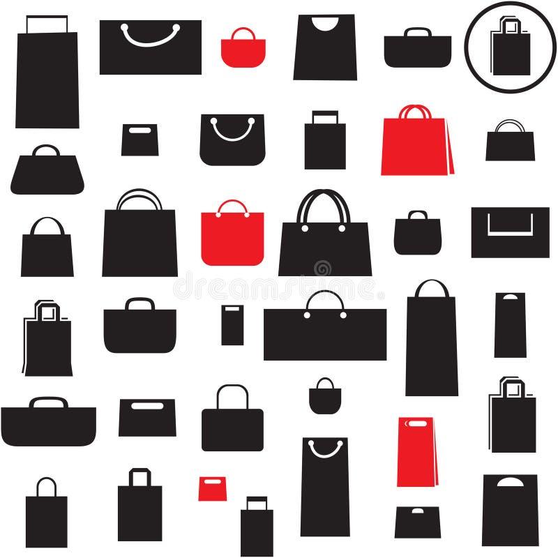 Iconos del bolso de compras fijados ilustración del vector