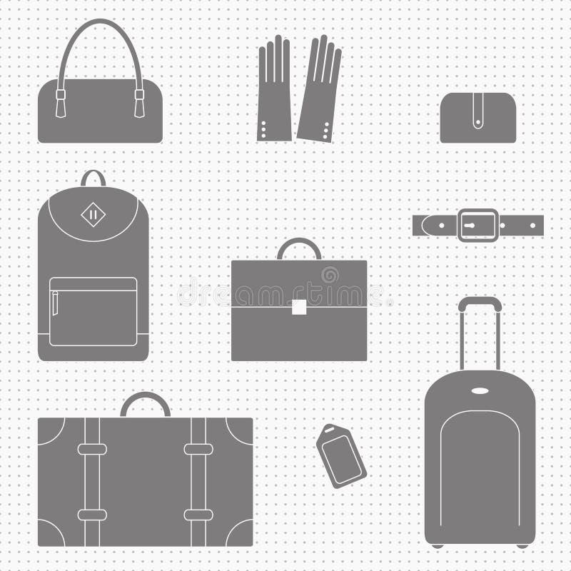 Iconos del bolso y de los accesorios foto de archivo libre de regalías