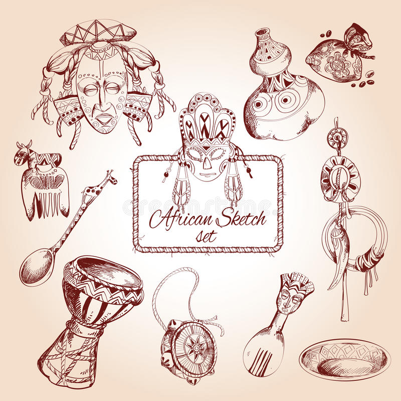 Iconos del bosquejo de África fijados ilustración del vector