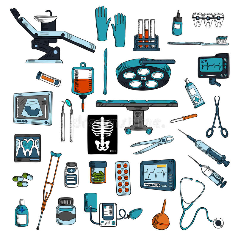 Iconos del bosquejo de los instrumentos médicos y de los equipos stock de ilustración