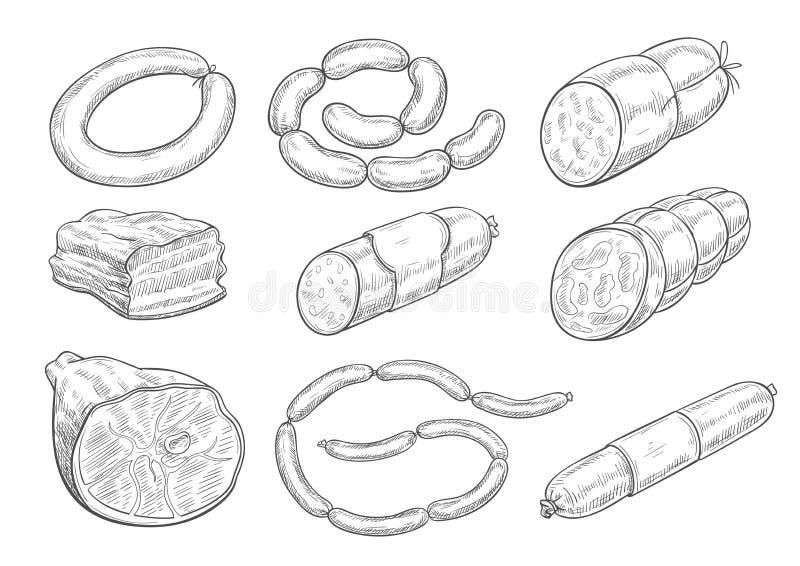 Iconos del bosquejo del vector de los productos de carne de la carnicería stock de ilustración