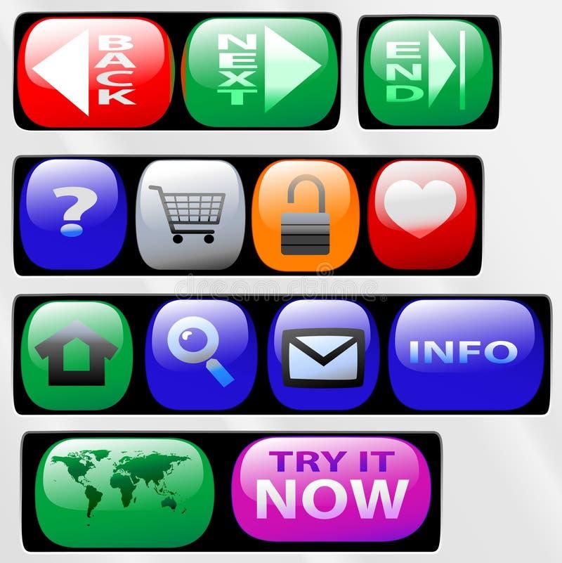 Iconos del botón del panel de control  stock de ilustración