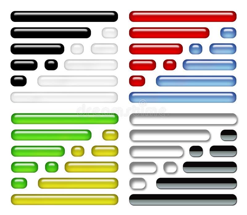 Iconos del botón FIJADOS stock de ilustración