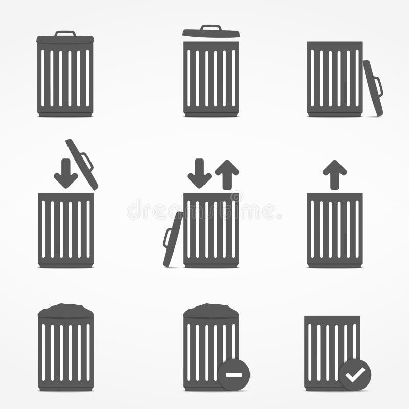 Iconos del bote de basura libre illustration