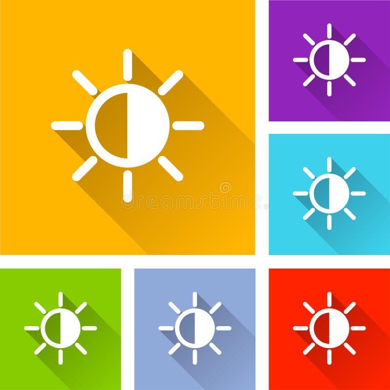 Iconos del brillo con la sombra larga stock de ilustración