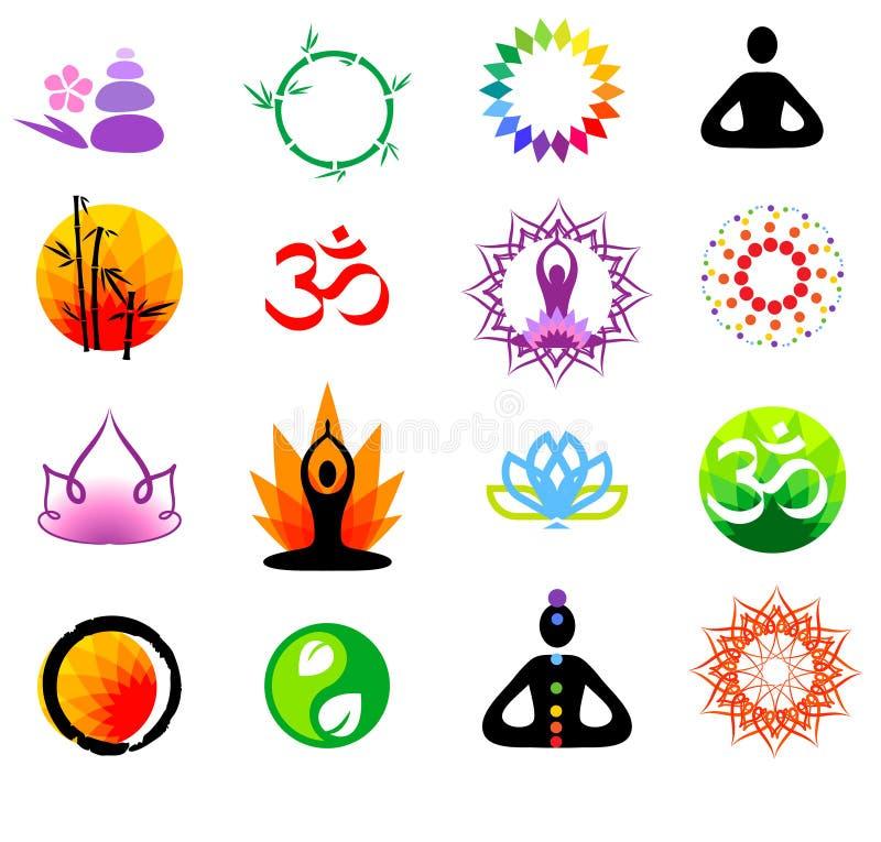 Iconos del buddhism del vector stock de ilustración