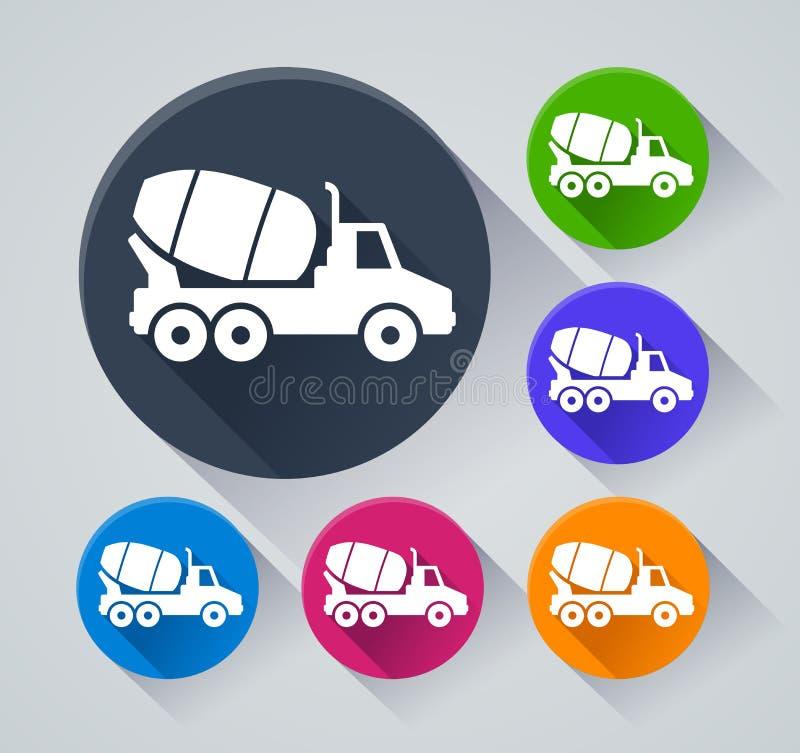 Iconos del círculo del camión del cemento con la sombra libre illustration