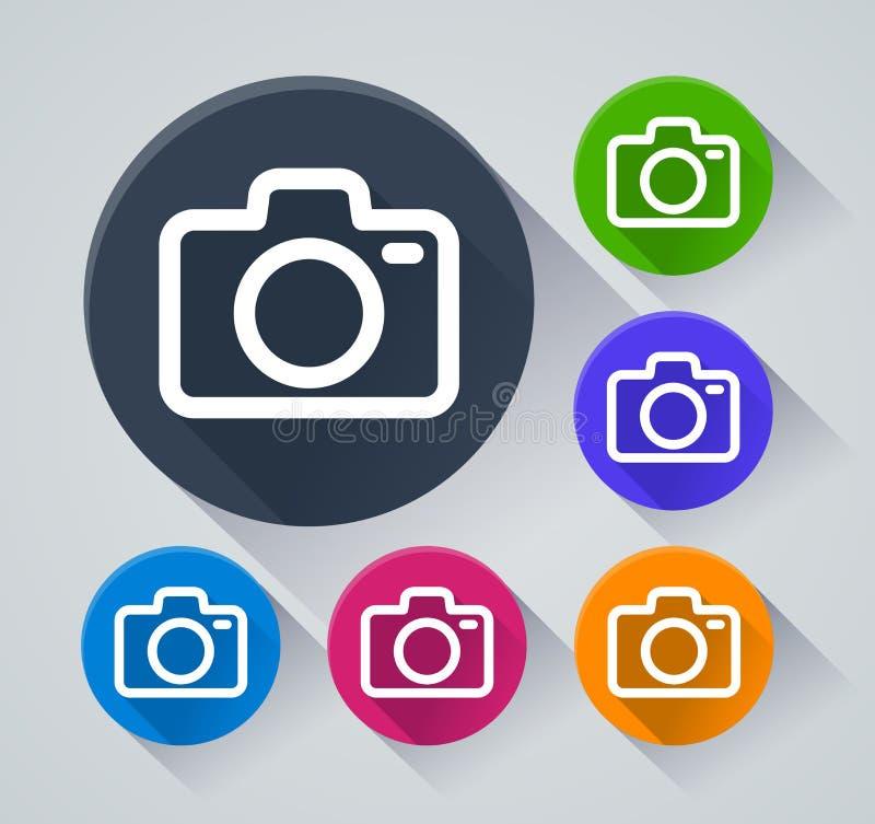 Iconos del círculo de la cámara con la sombra stock de ilustración