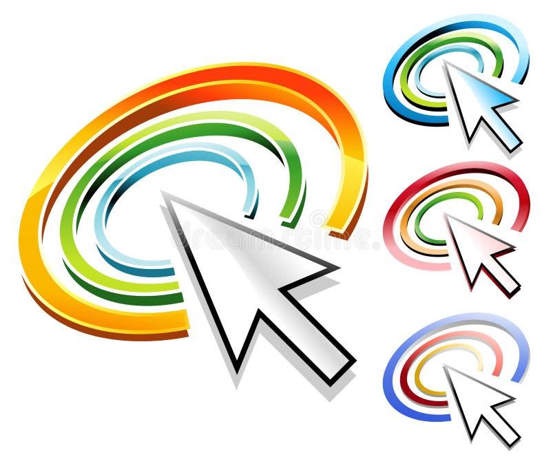 Iconos del círculo de la flecha del Internet ilustración del vector
