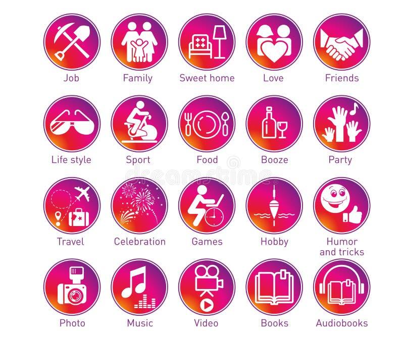 Iconos del círculo de las historias de Instagram fijados ilustración del vector