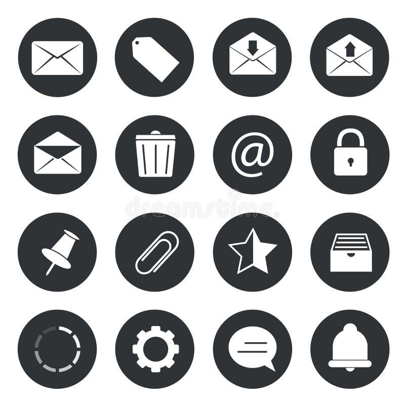 Iconos del círculo del correo electrónico stock de ilustración